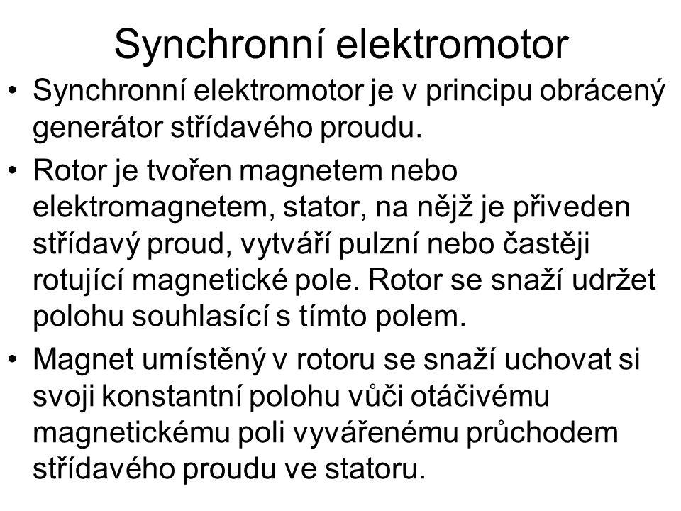 •Synchronní motory mají řadu nevýhod - je třeba je roztočit na pracovní otáčky jiným strojem nebo pomocným asynchronním rozběhovým vinutím, pokud pod zátěží ztratí synchronizaci s rotujícím polem, skokově klesne jejich výkon a zastaví se.