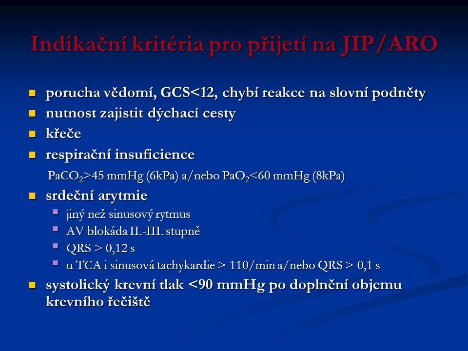 Indikační kritéria pro přijetí na JIP/ARO  porucha vědomí, GCS<12, chybí reakce na slovní podněty  nutnost zajistit dýchací cesty  křeče  respirač
