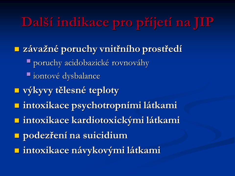 Další indikace pro příjetí na JIP  závažné poruchy vnitřního prostředí  poruchy acidobazické rovnováhy  iontové dysbalance  výkyvy tělesné teploty