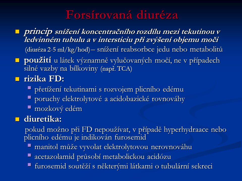 Forsírovaná diuréza  princip snížení koncentračního rozdílu mezi tekutinou v ledvinném tubulu a v intersticiu při zvýšení objemu moči (diuréza 2-5 ml