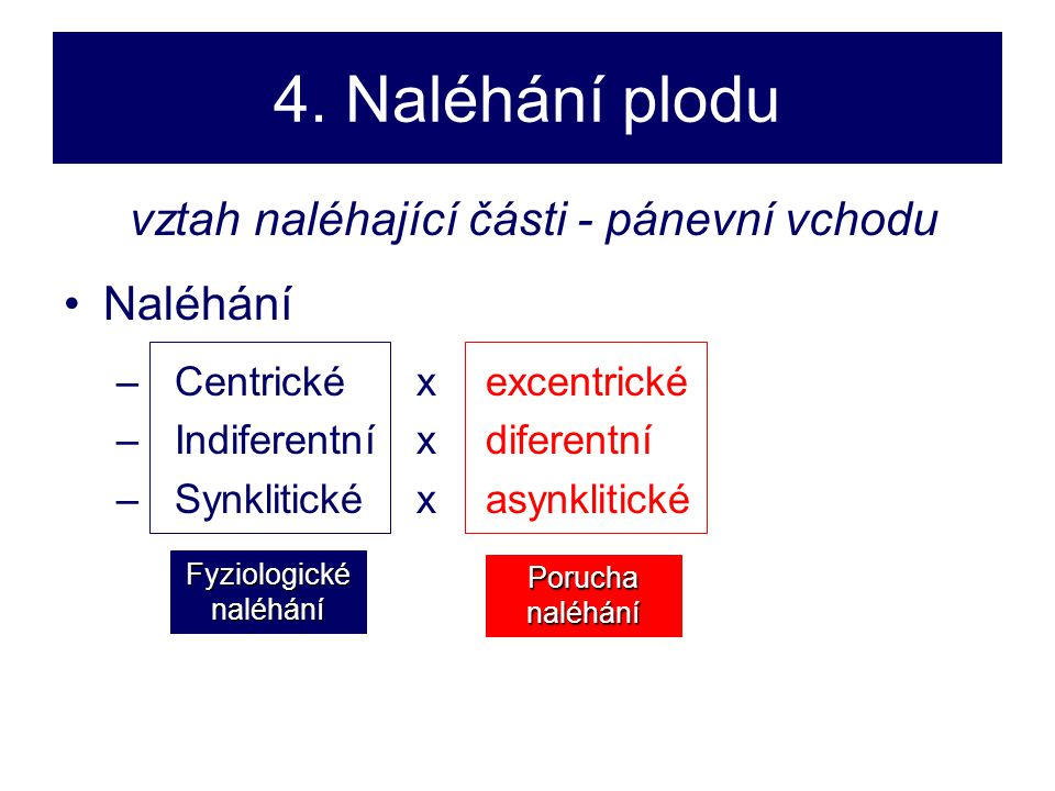 4. Naléhání plodu vztah naléhající části - pánevní vchodu •Naléhání –Centrické x excentrické –Indiferentní x diferentní –Synklitické x asynklitické Fy