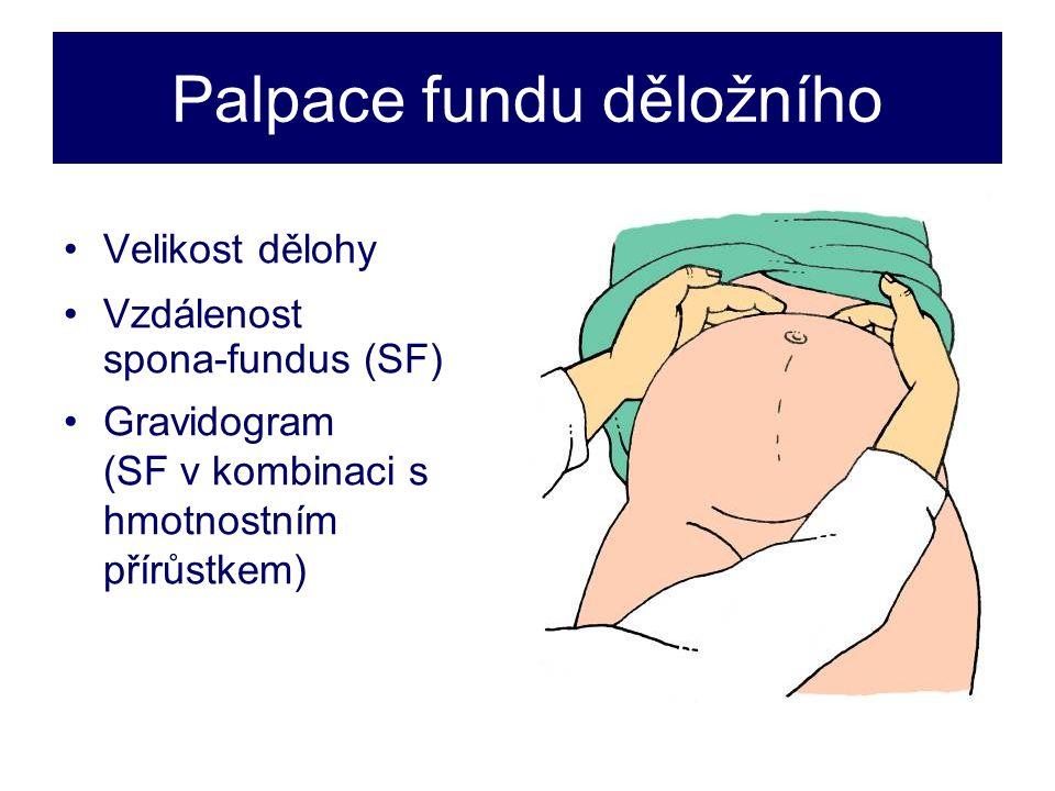 Palpace fundu děložního •Velikost dělohy •Vzdálenost spona-fundus (SF) •Gravidogram (SF v kombinaci s hmotnostním přírůstkem)