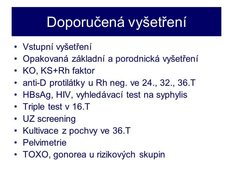 Doporučená vyšetření •Vstupní vyšetření •Opakovaná základní a porodnická vyšetření •KO, KS+Rh faktor •anti-D protilátky u Rh neg.