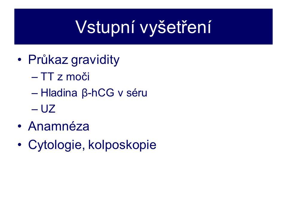 Vstupní vyšetření •Průkaz gravidity –TT z moči –Hladina β-hCG v séru –UZ •Anamnéza •Cytologie, kolposkopie
