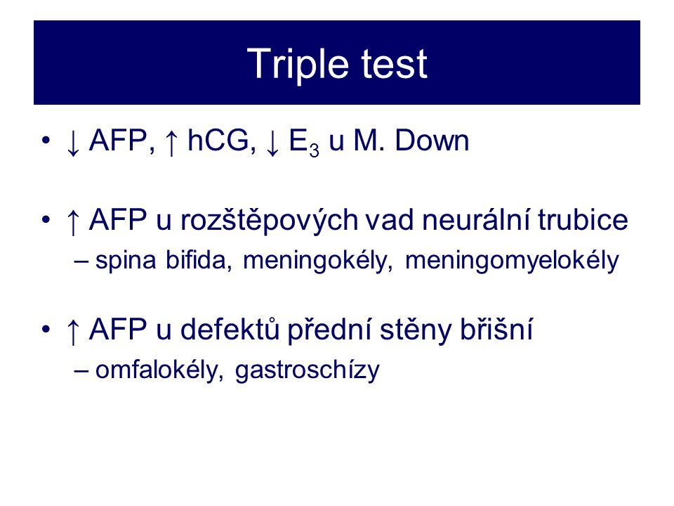 Triple test •↓ AFP, ↑ hCG, ↓ E 3 u M.