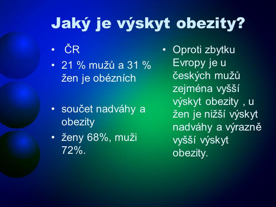 Jaký je výskyt obezity? • ČR •21 % mužů a 31 % žen je obézních •součet nadváhy a obezity •ženy 68%, muži 72%. •Oproti zbytku Evropy je u českých mužů