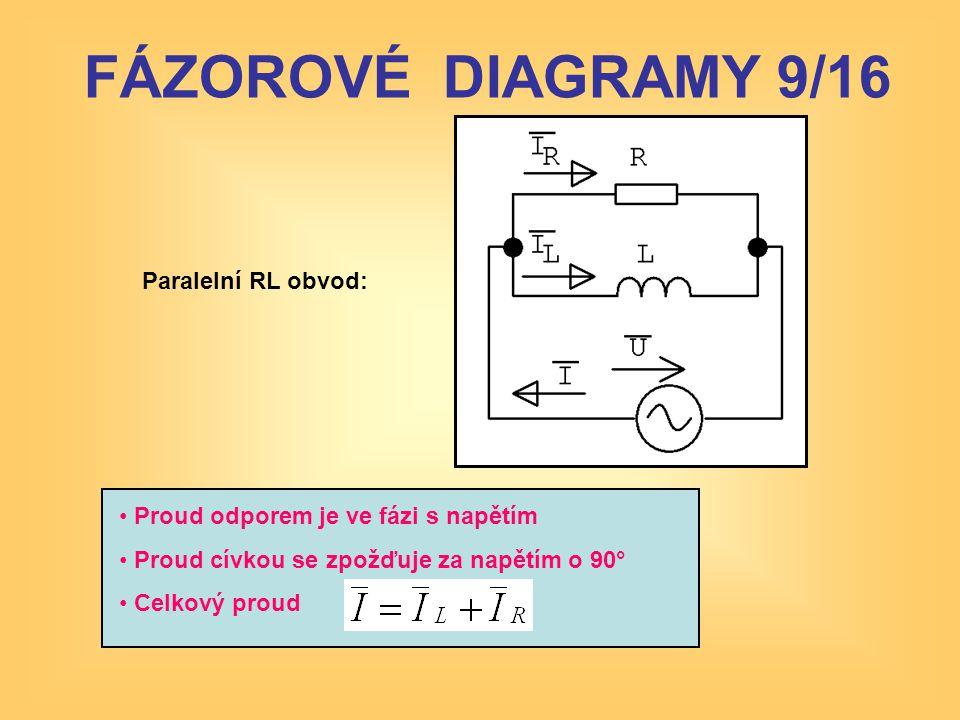 Paralelní RL obvod: • Proud odporem je ve fázi s napětím • Proud cívkou se zpožďuje za napětím o 90° • Celkový proud FÁZOROVÉ DIAGRAMY 9/16