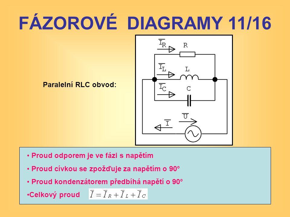 Paralelní RLC obvod: • Proud odporem je ve fázi s napětím • Proud cívkou se zpožďuje za napětím o 90° • Proud kondenzátorem předbíhá napětí o 90° •Cel