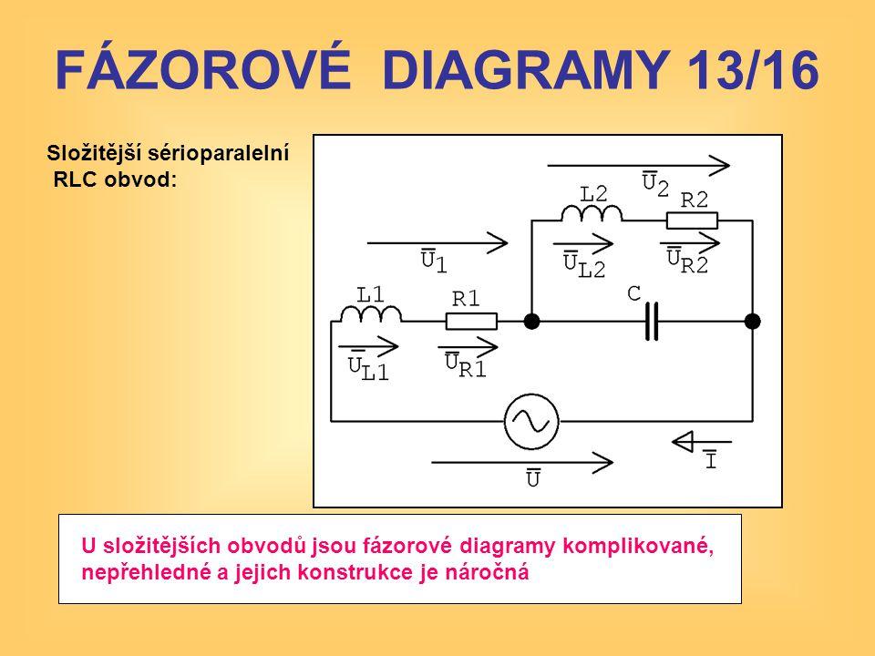 Složitější sérioparalelní RLC obvod: U složitějších obvodů jsou fázorové diagramy komplikované, nepřehledné a jejich konstrukce je náročná FÁZOROVÉ DI