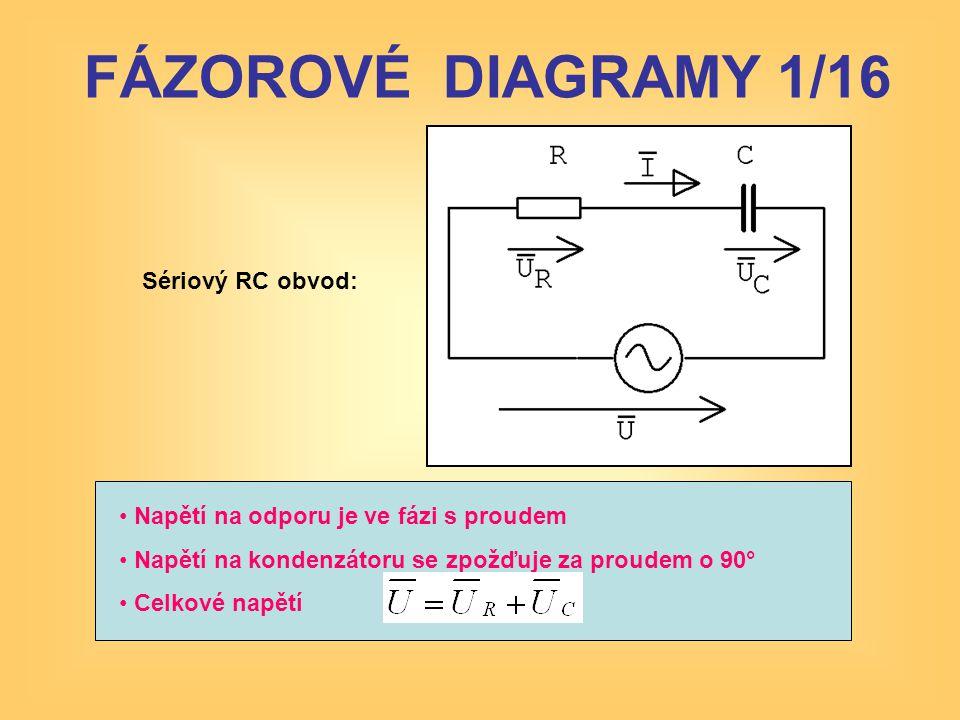 FÁZOROVÉ DIAGRAMY 1/16 Sériový RC obvod: • Napětí na odporu je ve fázi s proudem • Napětí na kondenzátoru se zpožďuje za proudem o 90° • Celkové napět