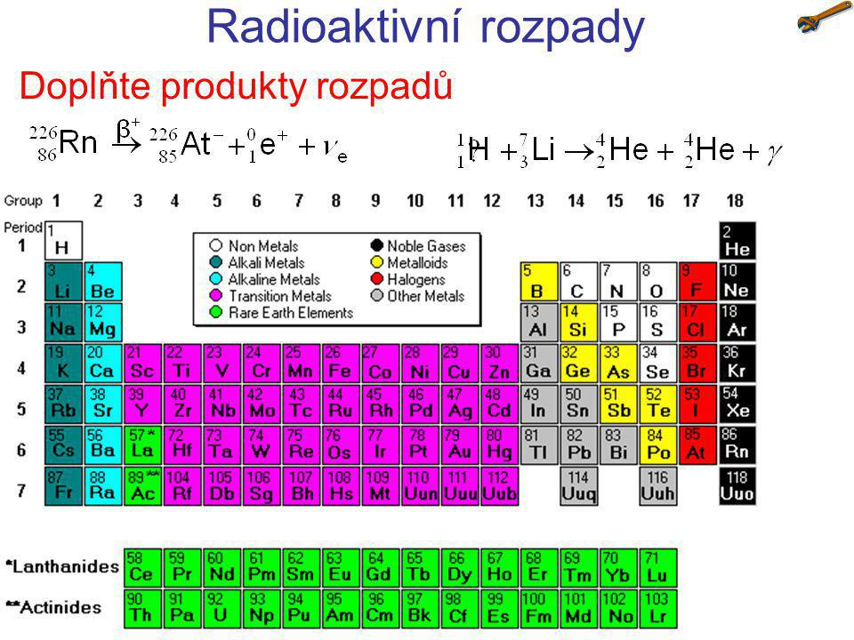Radioaktivní rozpady Doplňte produkty rozpadů