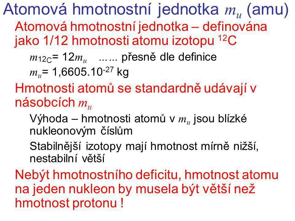 Atomová hmotnostní jednotka m u (amu) Atomová hmotnostní jednotka – definována jako 1/12 hmotnosti atomu izotopu 12 C m 12 C = 12 m u …… přesně dle de