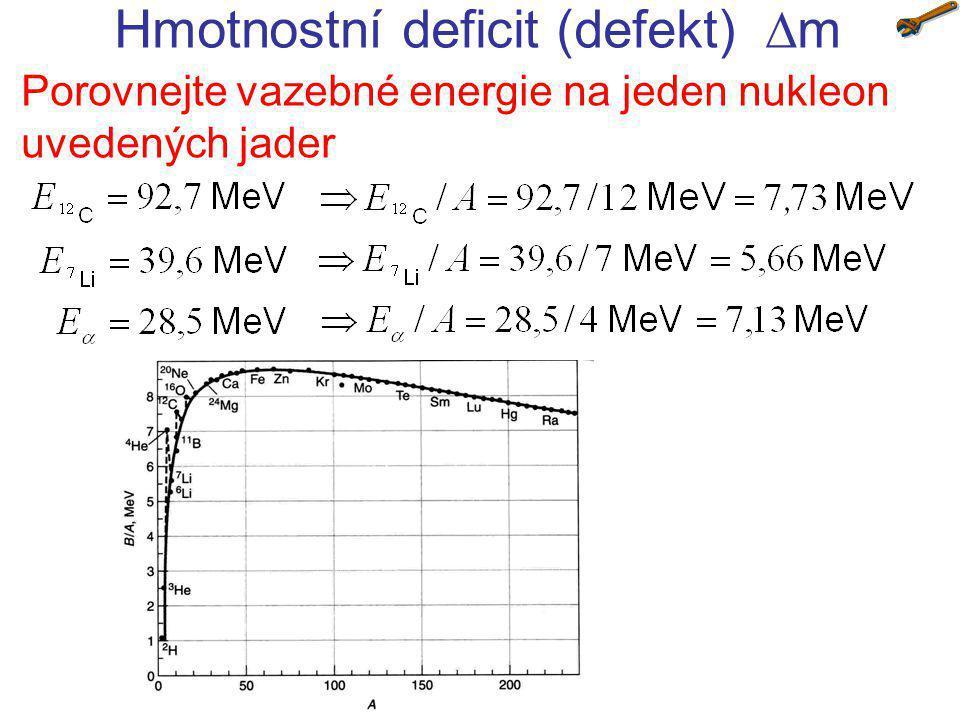 Hmotnostní deficit (defekt)  m Jaká energie (v MeV) se uvolní při jaderné reakci p + 7 Li →  + , je-li hmotnost atomu lithia m( 7 Li)=7,016 m u a m( 4 He)=4,0026 m u .