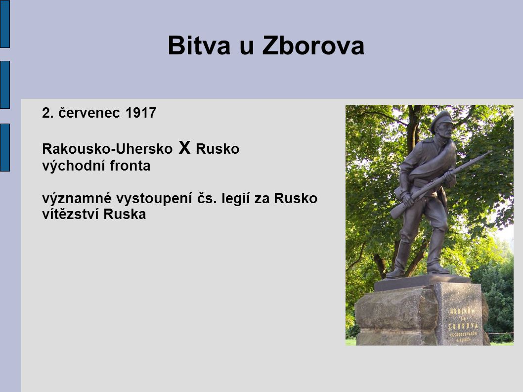 Bitva u Zborova 2.červenec 1917 Rakousko-Uhersko X Rusko východní fronta významné vystoupení čs.