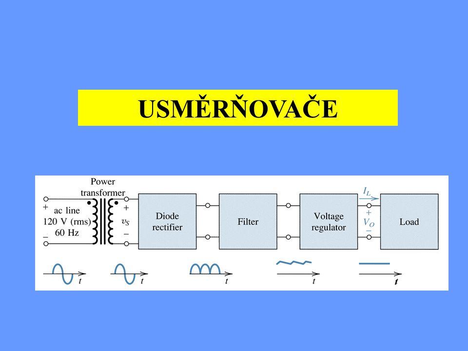 Příklad : Jaké má být sekundární napětí transformátoru, jestliže zdroj pro zesilovač je spočítán na 30V bez zatížení ? Řešení : U = Um /  2 = 30/1,41