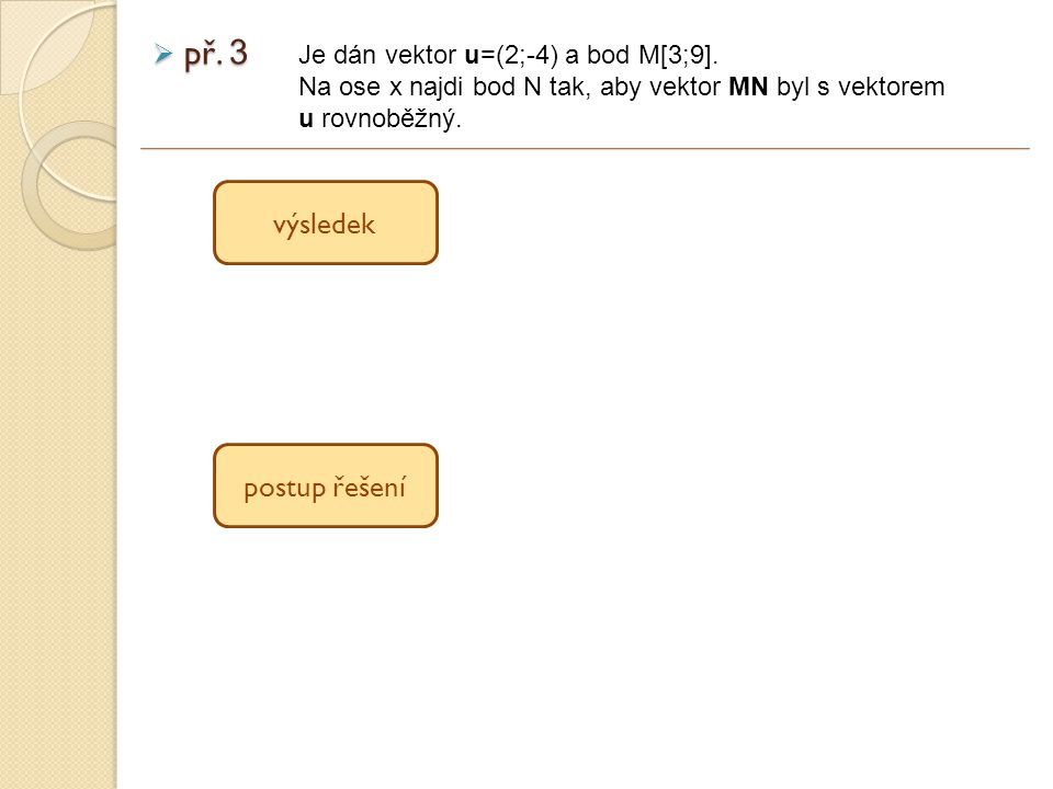  př. 3 Je dán vektor u=(2;-4) a bod M[3;9].