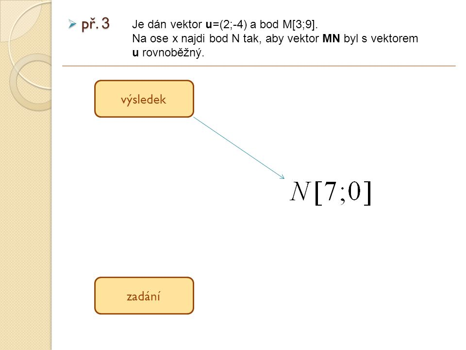 výsledek zadání  př. 3 Je dán vektor u=(2;-4) a bod M[3;9].