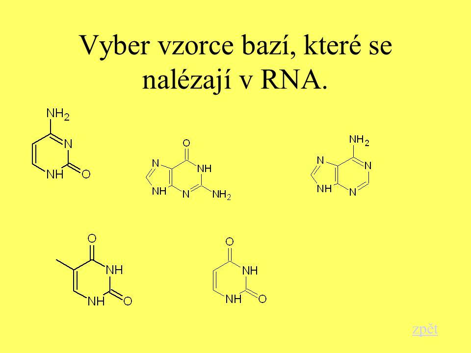 Vyber vzorce bazí, které se nalézají v RNA. zpět