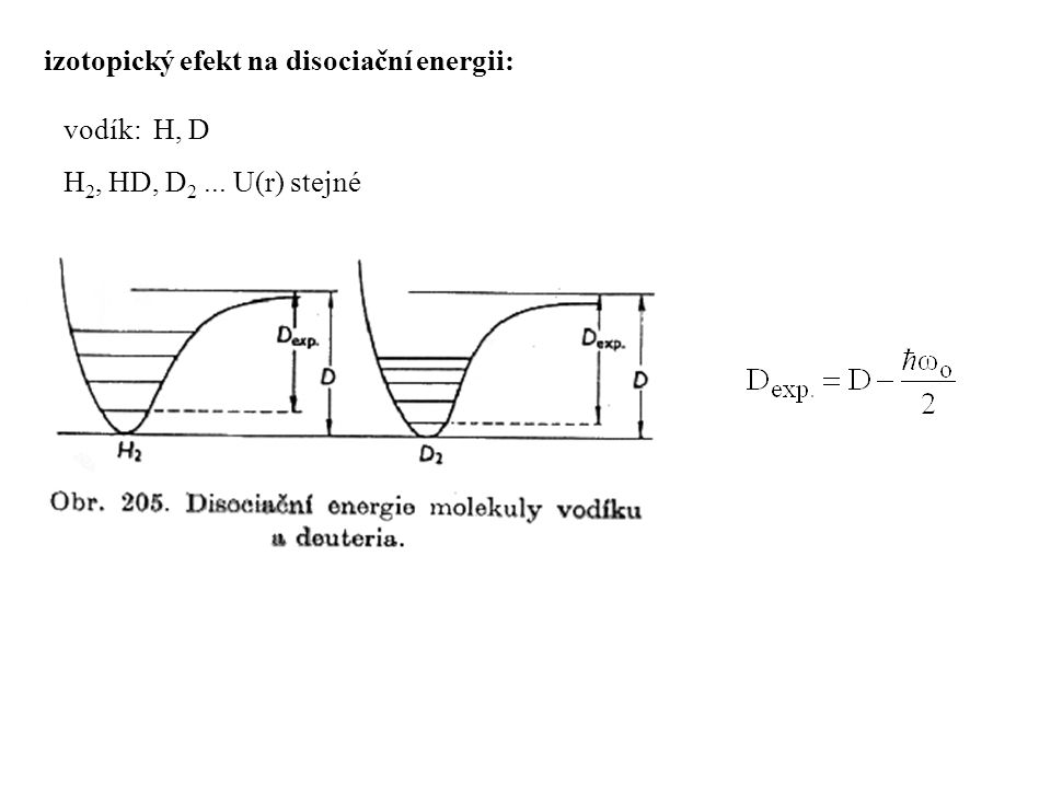 izotopický efekt na disociační energii: vodík: H, D H 2, HD, D 2... U(r) stejné