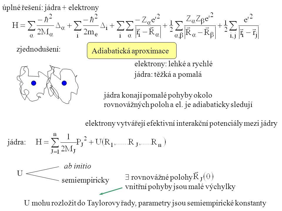 úplné řešení: jádra + elektrony zjednodušení: Adiabatická aproximace elektrony: lehké a rychlé jádra: těžká a pomalá jádra konají pomalé pohyby okolo