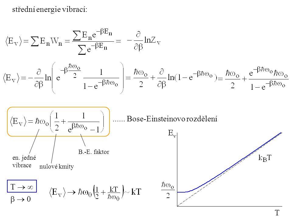 ...... Bose-Einsteinovo rozdělení střední energie vibrací: en. jedné vibrace nulové kmity B.-E. faktor T     0