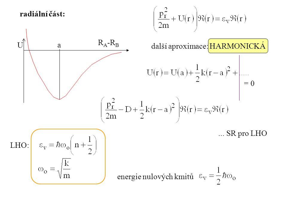 U a radiální část: další aproximace: HARMONICKÁ = 0... SR pro LHO LHO: energie nulových kmitů