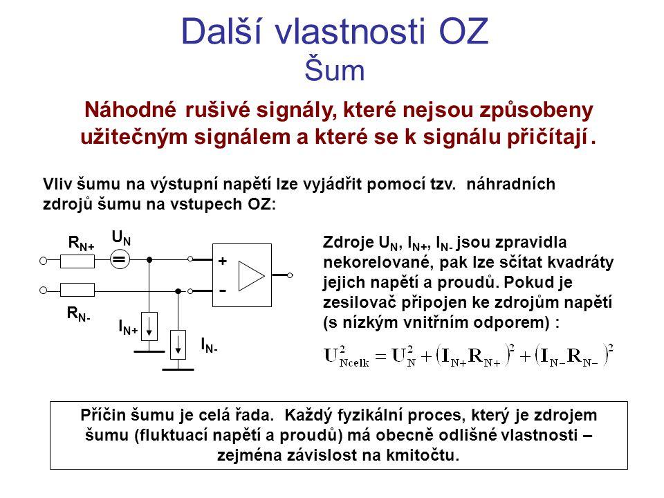 Další vlastnosti OZ Šum Náhodné rušivé signály, které nejsou způsobeny užitečným signálem a které se k signálu přičítají . Vliv šumu na výstupní napě