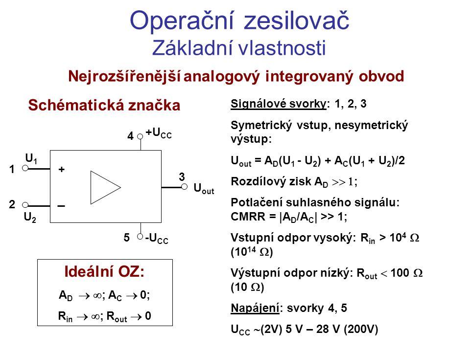 Základní aplikace OZ Neinvertující zesilovač U out = A D.(U 1 – U 2 ) U out – U 2 = I 1 R 1 U 2 = I 2 R 2 ; U in - U 1 =I 3 R 3 I 1 = I 2 + I 4 ; U 1 = I 3 R in ; U 2 = I 4 R in U in + U out U1U1 R1R1 +U CC R3R3 I1I1 I2I2 I3I3 U2U2 R 2 = R 3 I4I4 R2R2 -U CC