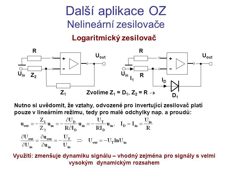 Další aplikace OZ Nelineární zesilovače Logaritmický zesilovač U in + U out Z1Z1 R Z2Z2 Zvolíme Z 1 = D 1, Z 2 = R  Nutno si uvědomit, že vztahy, odv