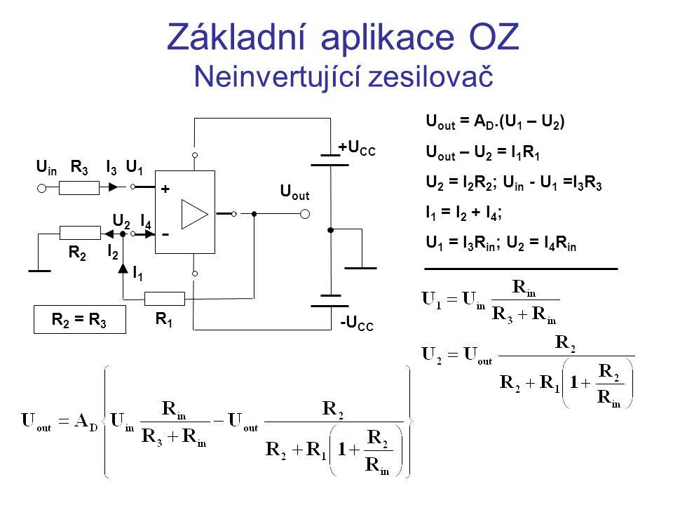 Základní aplikace OZ Neinvertující zesilovač U in + U out R1R1 R2R2 R2R2 Pro ideální OZ: A   R in   Zisk neinvertujícího zesilovače s ideálním OZ: A neinv0 = 1+R 1 /R 2 > 0 .