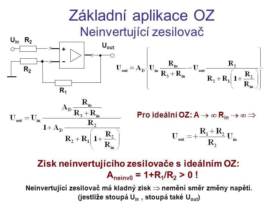 Základní aplikace OZ Invertující zesilovač U out = A D.(U 1 – U 2 ) U out – U 2 = I 1 R 1 U 1 = -I 3 R 3 ; U 2  –  U in =I 2 R 2 I 1 = I 2 + I 4 ; U 1 = I 3 R in ; U 2 = I 4 R in U in + U out U1U1 R1R1 +U CC R3R3 I1I1 I2I2 I3I3 U2U2 R 2 = R 3 I4I4 R2R2 -U CC