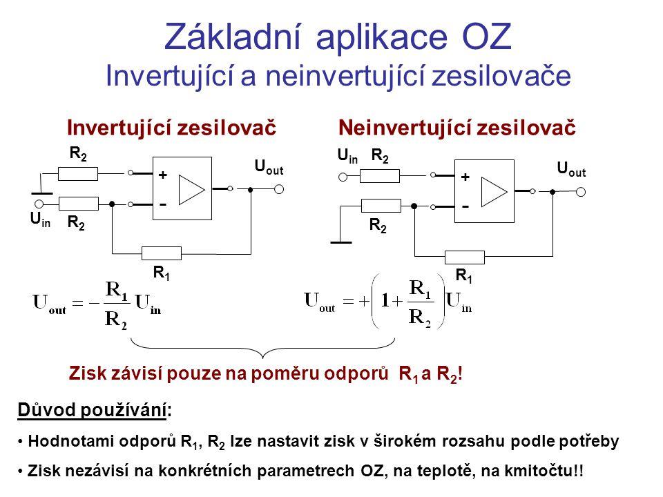 Základní aplikace OZ Invertující a neinvertující zesilovače U in + U out R1R1 R2R2 R2R2 U in + U out R1R1 R2R2 R2R2 Invertující zesilovačNeinvertující