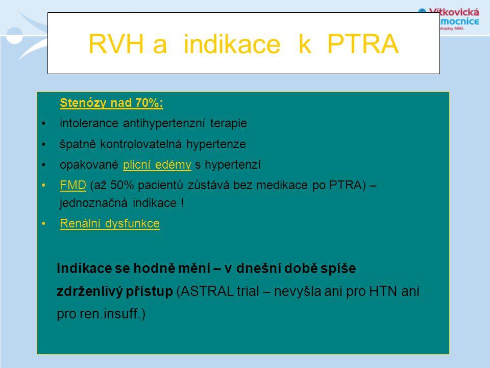 RVH a indikace k PTRA Stenózy nad 70%: •intolerance antihypertenzní terapie •špatně kontrolovatelná hypertenze •opakované plicní edémy s hypertenzí •F