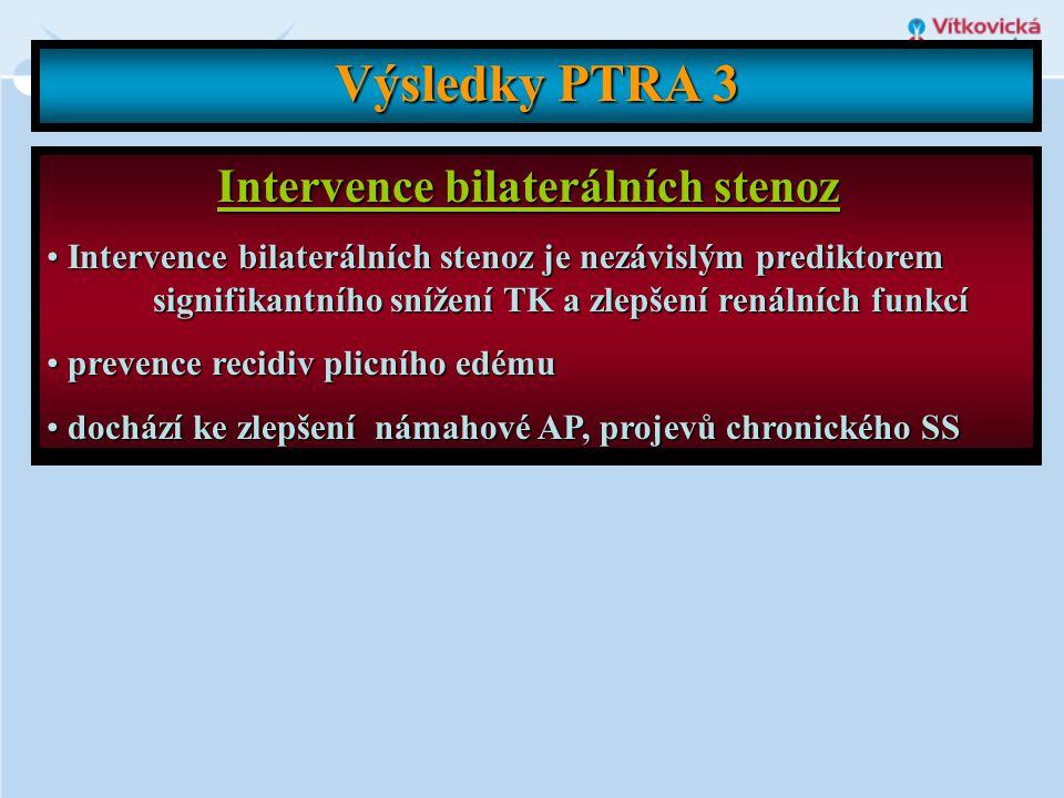 Výsledky PTRA 3 Intervence bilaterálních stenoz • Intervence bilaterálních stenoz je nezávislým prediktorem signifikantního snížení TK a zlepšení rená
