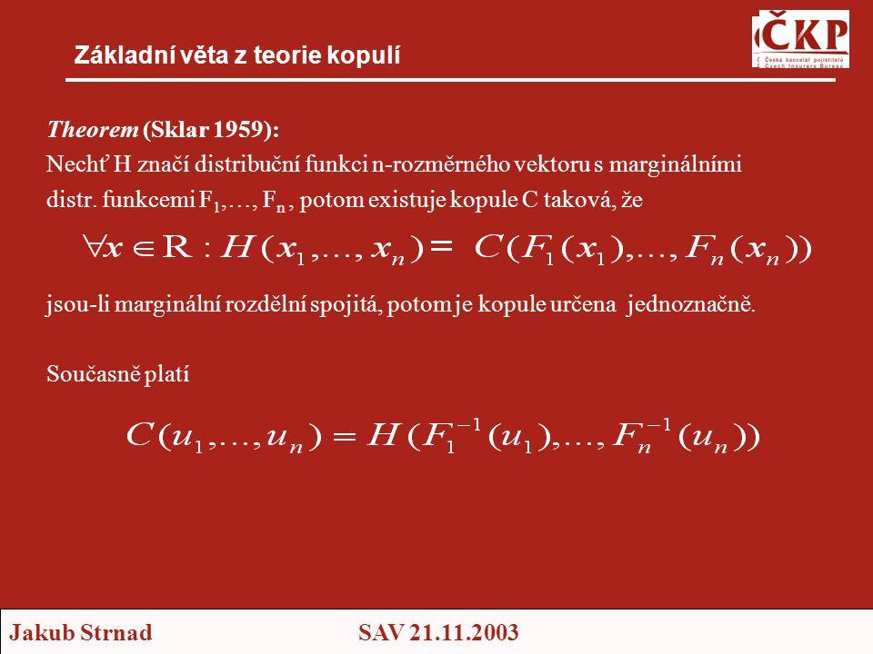 Jakub StrnadSAV 21.11.2003 Základní věta z teorie kopulí Theorem (Sklar 1959): Nechť H značí distribuční funkci n-rozměrného vektoru s marginálními distr.