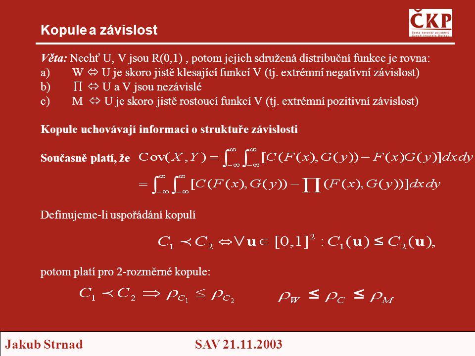 Jakub StrnadSAV 21.11.2003 Kopule a závislost Věta: Nechť U, V jsou R(0,1), potom jejich sdružená distribuční funkce je rovna: a)W  U je skoro jistě klesající funkcí V (tj.