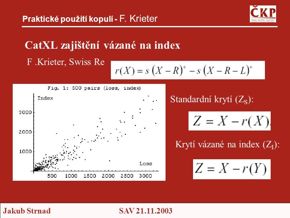 Jakub StrnadSAV 21.11.2003 CatXL zajištění vázané na index Praktické použití kopulí - F. Krieter F.Krieter, Swiss Re Standardní krytí (Z S ): Krytí vá