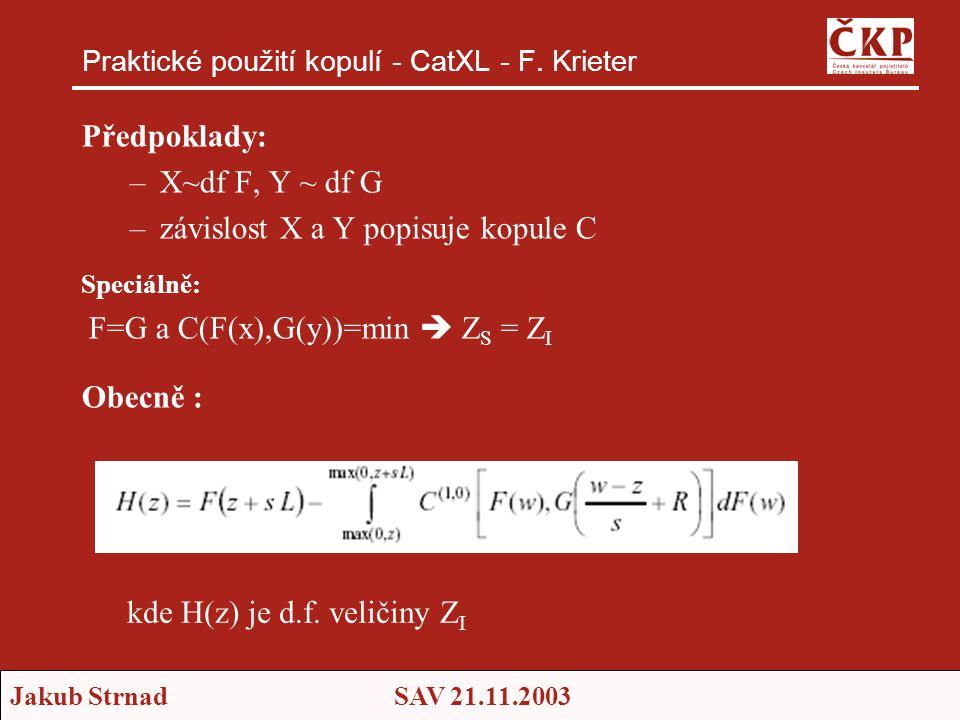 Jakub StrnadSAV 21.11.2003 Praktické použití kopulí - CatXL - F. Krieter Předpoklady: –X~df F, Y ~ df G –závislost X a Y popisuje kopule C Speciálně: