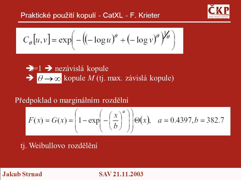 Jakub StrnadSAV 21.11.2003 Praktické použití kopulí - CatXL - F. Krieter Předpoklad o marginálním rozdělní tj. Weibullovo rozdělění   =1  nezávislá