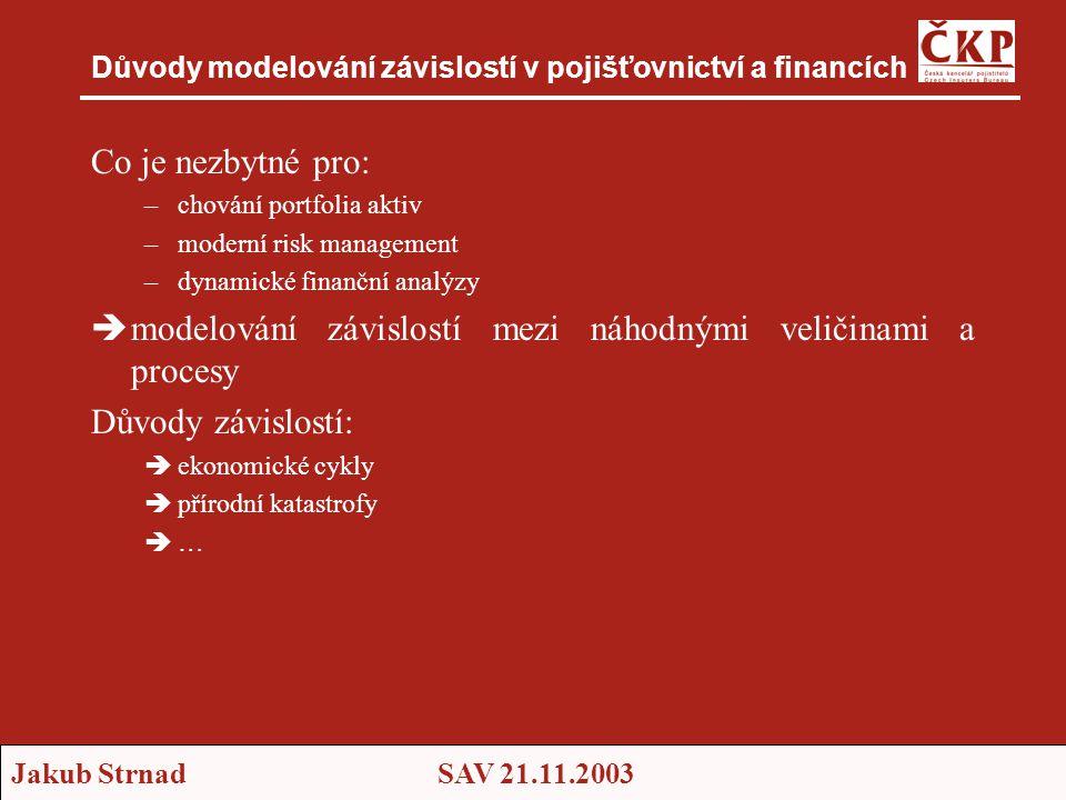 Jakub StrnadSAV 21.11.2003 Důvody modelování závislostí v pojišťovnictví a financích Co je nezbytné pro: –chování portfolia aktiv –moderní risk manage