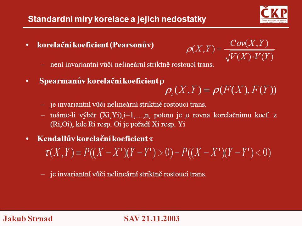 Jakub StrnadSAV 21.11.2003 Standardní míry korelace a jejich nedostatky •korelační koeficient (Pearsonův) –není invariantní vůči nelineární striktně rostoucí trans.