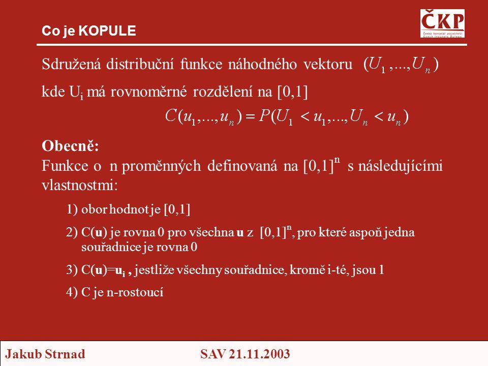 Jakub StrnadSAV 21.11.2003 Co je KOPULE Sdružená distribuční funkce náhodného vektoru kde U i má rovnoměrné rozdělení na [0,1] Obecně: Funkce o n proměnných definovaná na [0,1] n s následujícími vlastnostmi: 1)obor hodnot je [0,1] 2)C(u) je rovna 0 pro všechna u z [0,1] n, pro které aspoň jedna souřadnice je rovna 0 3)C(u)=u i, jestliže všechny souřadnice, kromě i-té, jsou 1 4)C je n-rostoucí