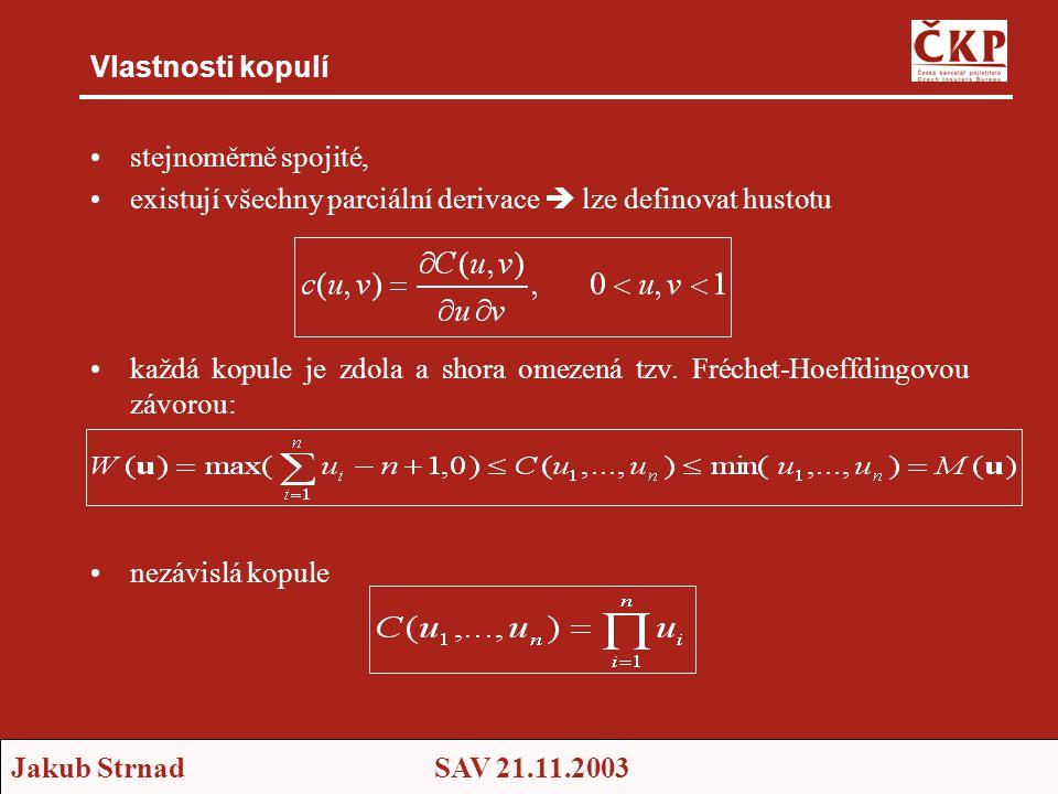 Jakub StrnadSAV 21.11.2003 Vlastnosti kopulí •stejnoměrně spojité, •existují všechny parciální derivace  lze definovat hustotu •každá kopule je zdola a shora omezená tzv.