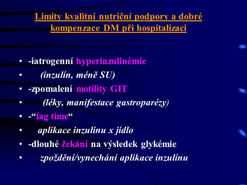 Limity kvalitní nutriční podpory a dobré kompenzace DM při hospitalizaci •dieta vs reálný příjem potravy • vyšetřování, léčebné výkony •současné podáv