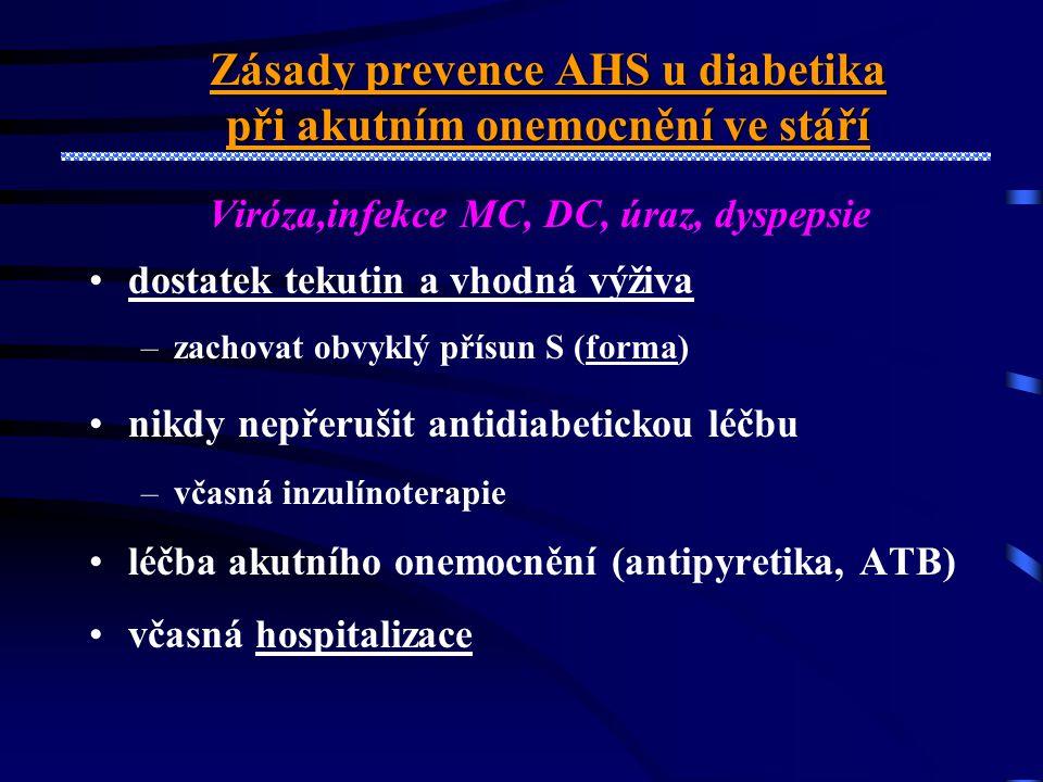 Akutní onemocnění u seniora s DM jako příčina poruchy výživy a akutní dekompenzace DM •Důvody •Nedostatečná hydratace a příjem potravy •(psych., inf.,