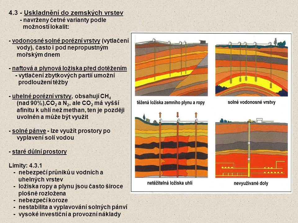 4.3 - Uskladnění do zemských vrstev - navrženy četné varianty podle možností lokalit: - vodonosné solné porézní vrstvy (vytlačení vody), často i pod nepropustným mořským dnem - naftová a plynová ložiska před dotěžením - vytlačení zbytkových partií umožní prodloužení těžby - uhelné porézní vrstvy, obsahují CH 4 (nad 90%),CO 2 a N 2, ale CO 2 má vyšší afinitu k uhlí než methan, ten je později uvolněn a může být využit - solné pánve - lze využít prostory po vyplavení solí vodou - staré důlní prostory Limity: 4.3.1 - nebezpečí průniků u vodních a uhelných vrstev - ložiska ropy a plynu jsou často široce plošně rozložena - nebezpečí koroze - nestabilita a vyplavování solných pánví - vysoké investiční a provozní náklady