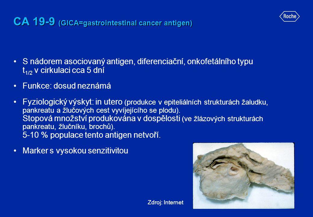 CA 19-9 (GICA=gastrointestinal cancer antigen) •S nádorem asociovaný antigen, diferenciační, onkofetálního typu t 1/2 v cirkulaci cca 5 dní •Funkce: d