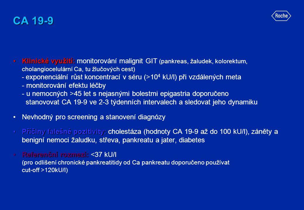 CA 19-9 •Klinické využití: •Klinické využití: monitorování malignit GIT (pankreas, žaludek, kolorektum, cholangiocelulární Ca, tu žlučových cest) - ex