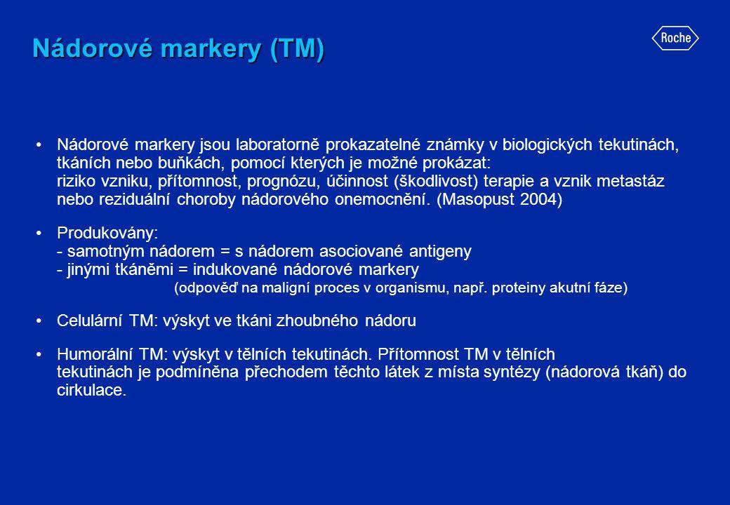 Nádorové markery (TM) •Nádorové markery jsou laboratorně prokazatelné známky v biologických tekutinách, tkáních nebo buňkách, pomocí kterých je možné