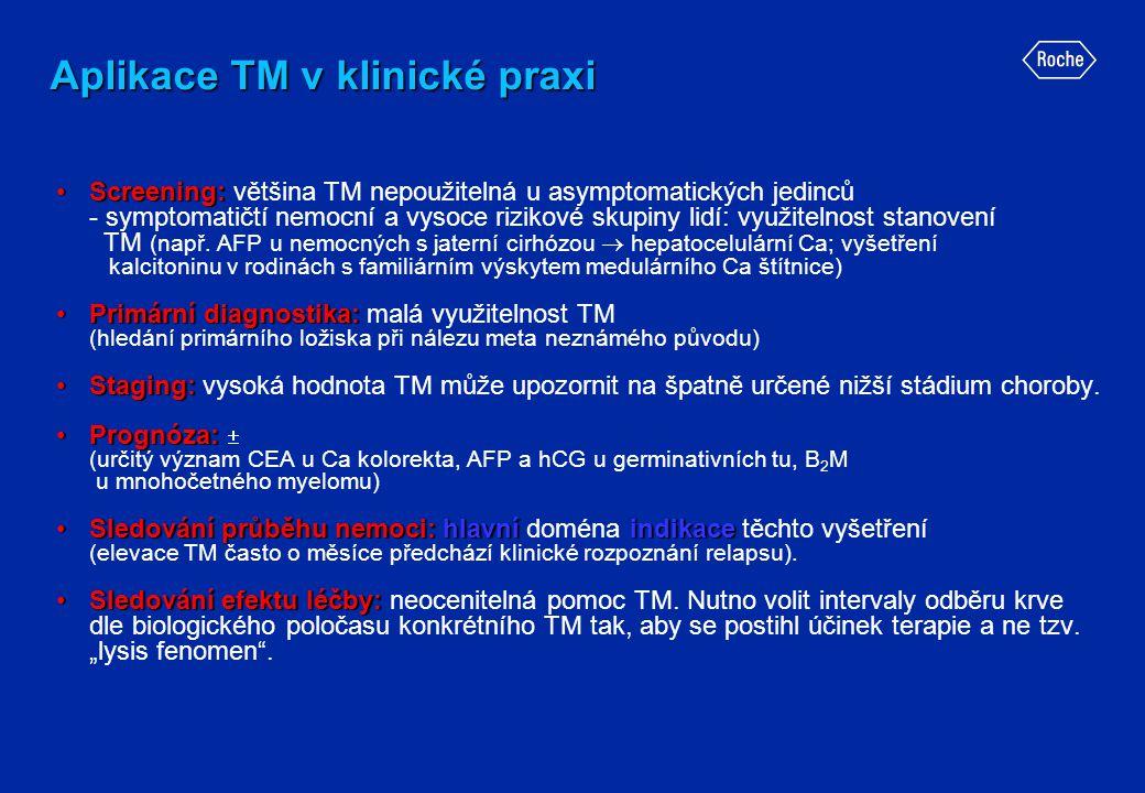 Aplikace TM v klinické praxi •Screening: •Screening: většina TM nepoužitelná u asymptomatických jedinců - symptomatičtí nemocní a vysoce rizikové skup